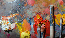 Odgórny widok paleta obrazu muśnięcia Zdjęcie Stock
