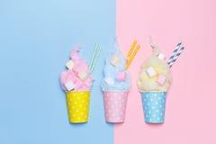 Odgórny widok Pastelowy Bawełniany cukierek z marshmallows Fotografia Stock