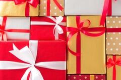 Odgórny widok piękni prezentów pudełka Zdjęcie Royalty Free
