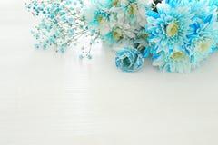 Odgórny widok piękny i delikatny błękitny kwiatu przygotowania Zdjęcie Stock