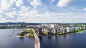 Odgórny widok piękny miasto Jyvaskyla Piękny pogodny summed dzień zdjęcia royalty free
