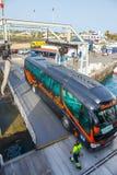 Odgórny widok pojazd i pasażerski prom Obrazy Royalty Free