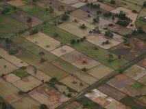 Odgórny widok pola w Azja - fotografia stock