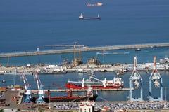 Odgórny widok port Haifa Zdjęcie Stock