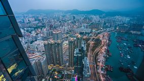Odgórny widok portu morskiego Frachtowy Forwarder W Hong Kong obrazy stock