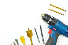 Odgórny widok Pracujący budów narzędzia, śrubokręt i set dr, Zdjęcia Stock