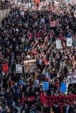 Odgórny widok protestujący Chodzi w Upakowanych ulicach Zdjęcie Royalty Free