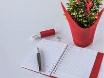 Odgórny widok pusty notatnik na kobiecym tle wystrój świątecznie zdjęcia stock
