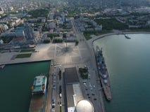 Odgórny widok quay Novorossiysk i marina Obrazy Stock