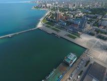 Odgórny widok quay Novorossiysk i marina Obraz Royalty Free