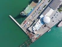 Odgórny widok quay Novorossiysk i marina Miastowy krajobraz biedne miasto Fotografia Stock