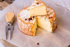 Odgórny widok rżnięty plasterek Francuski lub Niemiecki miękki ser z pomarańczową skórką z foremką, śmietankowa tekstura, czerwon Fotografia Royalty Free