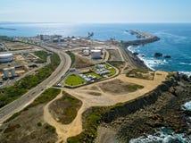 Odgórny widok rafineria ropy naftowej obrazy royalty free