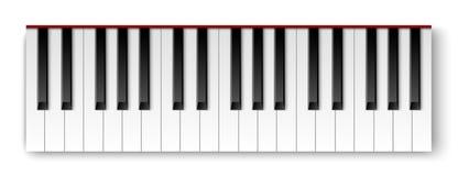 Odgórny widok realistyczna szczegółowa ocieniona fortepianowa klawiatura ilustracji