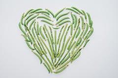 odgórny widok robić świezi zieleni grochy i asparagus serce Ilustracja Wektor