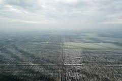 Odgórny widok rolniczy pola zakrywający z śniegiem Obraz Royalty Free