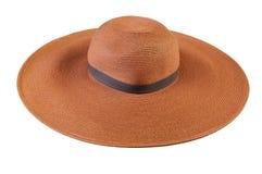 Odgórny widok round słomiany kapelusz na białym tle fotografia stock