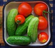 Odgórny widok Sałatkowy veggie jest śniadaniowy dla zdrowego, pomidory, ogórek Zdjęcia Royalty Free