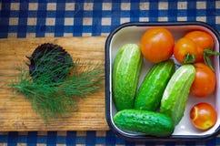 Odgórny widok Sałatkowy veggie jest śniadaniowy dla zdrowego, pomidory, ogórek Zdjęcie Royalty Free