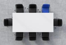 Odgórny widok sala konferencyjna Biały prostokątny stół wokoło i osiem krzeseł, jeden one jesteśmy błękitni Biurowy wnętrze 3D re Zdjęcie Stock
