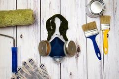 Odgórny widok, set narzędzia dla malować obrazy stock