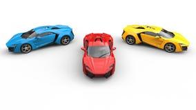 Odgórny widok sportów samochody błękit, rewolucjonistka i kolor żółty -, - obrazy royalty free