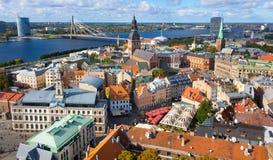 Odgórny widok stary miasto Ryski Zdjęcie Royalty Free