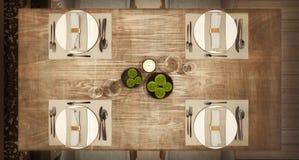 Odgórny widok stołowy ustawianie dla nowożytnej Arabskiej restauracji, pojęcie, drewniany zakłopotany stół, 3d odpłaca się zdjęcie royalty free