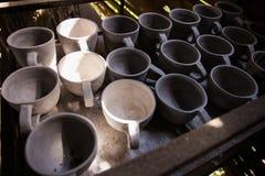 Odgórny widok surowy glebowy garnek Obraz Stock