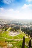 Odgórny widok Theatro Dionisou w Ateny, Grecja Zdjęcia Royalty Free