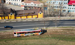 Odgórny widok tramwaj w centrum Nizhny Novgorod zdjęcia royalty free