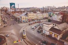 Odgórny widok ulicy Kijów Zdjęcie Stock