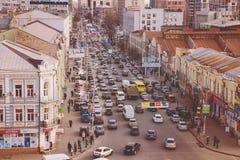 Odgórny widok ulicy Kijów Zdjęcia Stock