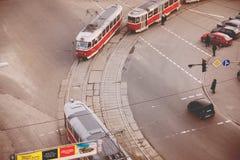 Odgórny widok ulicy Kijów Obraz Stock