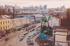 Odgórny widok ulicy Kijów Zdjęcia Royalty Free