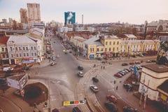 Odgórny widok ulicy Kijów Fotografia Stock
