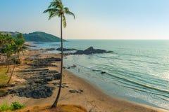 Odgórny widok Vagator plaża w Goa obrazy stock
