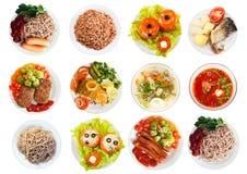 Odgórny widok wiele talerze z jedzeniem zdjęcie royalty free