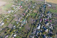 Odgórny widok wioska Jeden może widzieć dachy domy i fotografia stock