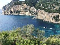 Odgórny widok wybrzeże Corfu wyspa w Grecja zdjęcie stock