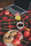 Odgórny widok wygodny jesień ranek w domu Śniadanie z laptopem, filiżanką herbata i bagel z jabłkami na woolen szkockiej kraty ko Zdjęcia Royalty Free