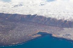 Odgórny widok z lotu ptaka, Iceland zima naturalny krajobraz, i seacoast Fotografia Royalty Free