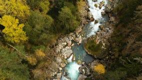 Odgórny widok z lotu ptaka postu halny rzeczny spływanie w iglastej jesieni góry lasowej Czystej wodzie w naturalnym zbiory