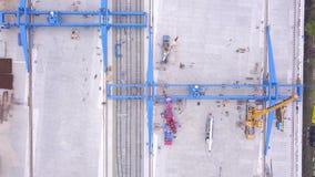 Odgórny widok zbiornik klamerka Odgórny widok kętnara żuraw Wielka logistyka transportu firma zbiory