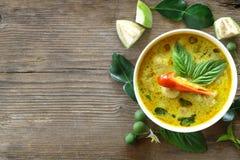 Odgórny widok zielony curry rybiej piłki Tajlandzki jedzenie Obraz Royalty Free