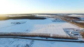Odgórny widok zmierzch w zimie w naturze footage Panoramiczny widok sceniczna baśniowa zimy krainy cudów góra zdjęcia stock