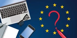 Odg?rny widok biurko, symbolizuje medialn? aktywno?? dla Europejskich wybor?w ilustracji