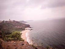Odg?rny widok morze pla?a fotografia stock