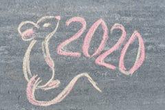 Odg?rny widok na tekscie, obrazek, 2020 i ?adna mysz, fotografia stock