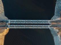 Odg?rny widok od trutnia kolejowy most nad Voronezh rzek? zdjęcia royalty free